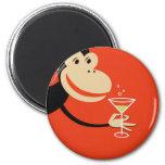 Cocktail Monkey 6 Cm Round Magnet