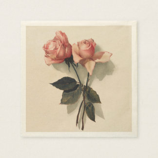 Cocktail Napkin Paper with Vintage Pink Roses Disposable Napkin