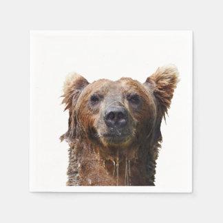 Cocktail napkin w/ grizzly bear disposable napkin