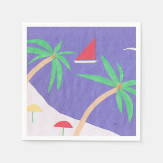 Cocktail Napkin with a Bright Beach Design Paper Serviettes