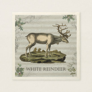 Cocktail napkin with White Reindeer Paper Napkin