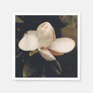 Cocktail Napkins with a Magnolia Blossom Design Disposable Serviette