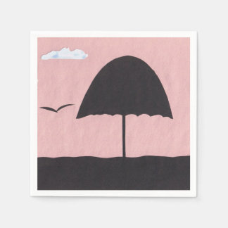 Cocktail Napkins with a Warm Pink Sunset Scene Paper Napkins