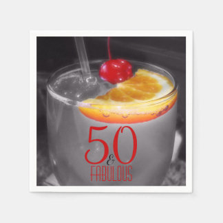 Cocktail Party 50th Birthday | 50 & Fabulous Disposable Serviette