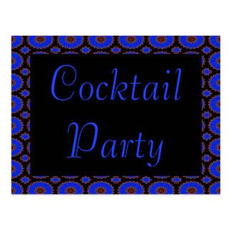 cocktail party blue flower invitation postcard