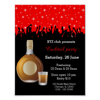 Cocktail party * choose background colour poster