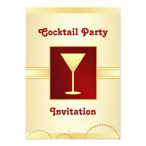 Cocktail Party Invitations - Champagne Gold