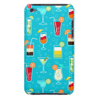 Cocktail Pattern on Teal Background Barely There iPod Cases