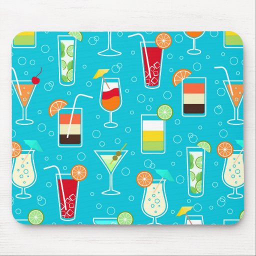 Cocktail Pattern on Teal Background Mousepads