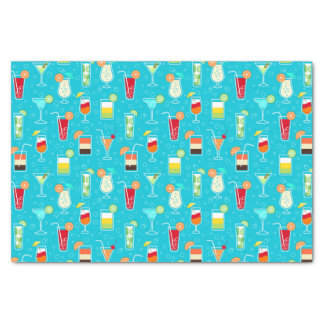 Cocktail Pattern on Teal Background Tissue Paper