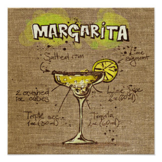 Cocktail Recipe Margarita Poster