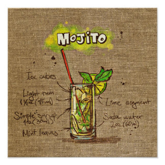 Cocktail Recipe Mojito Poster