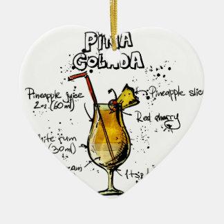 Cocktail Recipe Pina Colada Ceramic Ornament