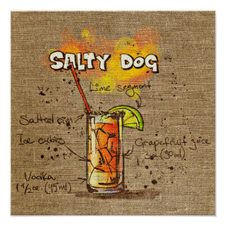 Cocktail Recipe Salty Dog Poster