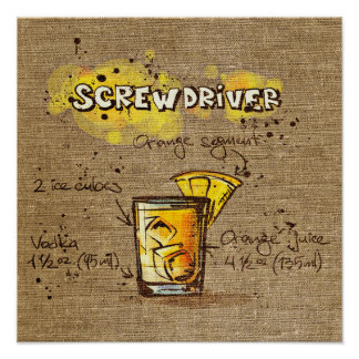 Cocktail Recipe screwdriver Poster