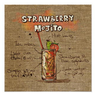 Cocktail Recipe strawberry mojito Poster