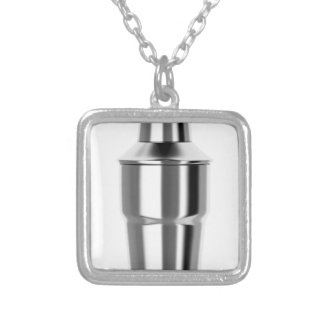 Cocktail shaker silver plated necklace