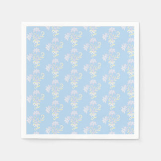 Cocktail size paper napkins in baby blue, pink
