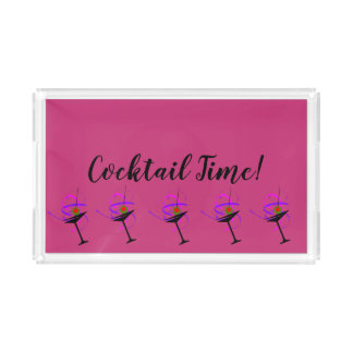 Cocktail Time Hot Pink Serving Tray