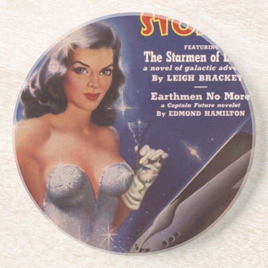 Cocktail Waitress in Space Beverage Coasters
