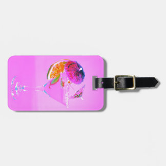 Cocktail with colorful umbrellas luggage tag