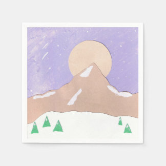 Cocktail with Mountain Scene Paper Serviettes