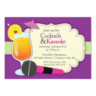 Cocktails and Karaoke Birthday Party Card