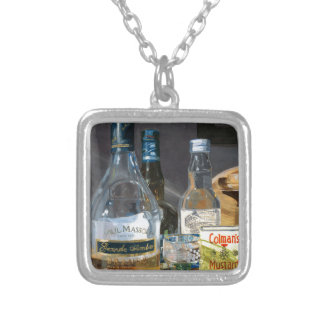 Cocktails and Mustard Silver Plated Necklace