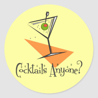 Cocktails Anyone? Classic Round Sticker