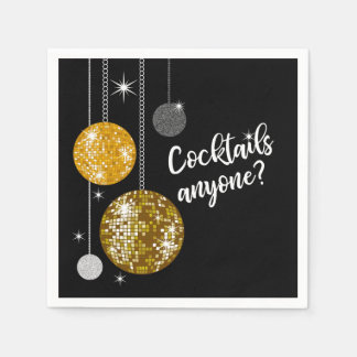 Cocktails Anyone disco ball napkin Disposable Napkin