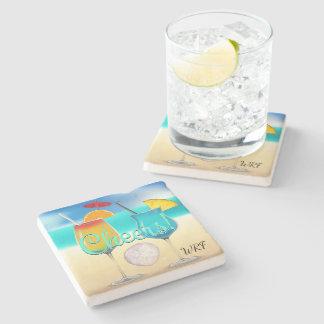 Cocktails Beach Monogram Coaster