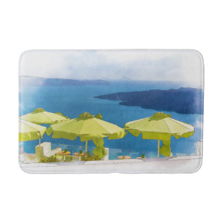 Cocktails by the Sea Greece Painting Bath Mat Bath Mats