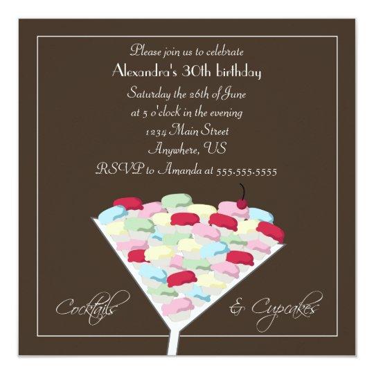 Cocktails & Cupcakes Birthday Invitation