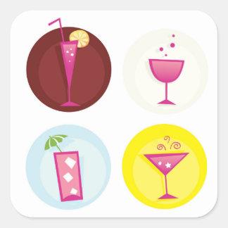 Cocktails cute ethno square sticker