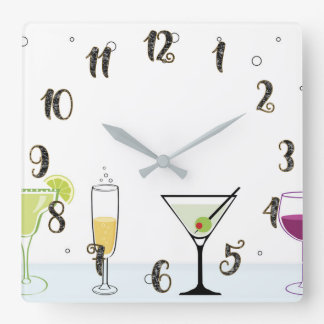 Cocktails Drinks Bubbly Alcohol Wine Glass Kitchen Square Wall Clock
