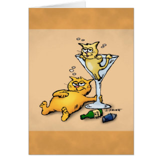 Cocktails & Kittens Cartoon Birthday Card Greeting Card