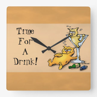 Cocktails & Kittens TIme for a Drink Gold Clock