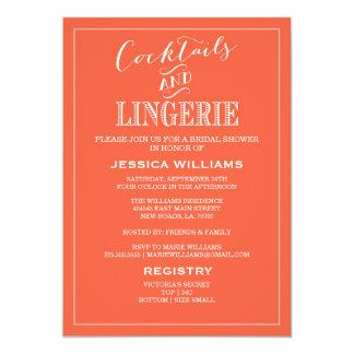 "Cocktails & Lingerie Shower Invitations | Coral 5"" X 7"" Invitation Card"