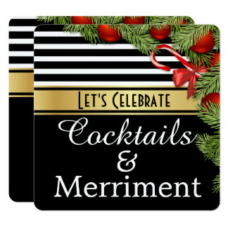 """Cocktails & Merriment"" Holiday Party Invitation"
