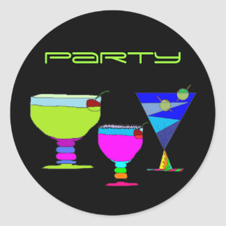 Cocktails Party Neon Drinks on Black Sticker