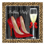 Cocktails Red High Heel Shoes Leopard Birthday 13 Cm X 13 Cm Square Invitation Card