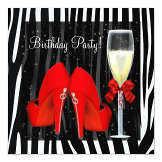 Cocktails Red High Heel Shoes Zebra Birthday Card