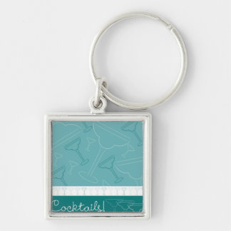 Cocktails! Silver-Colored Square Key Ring