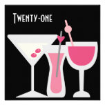 Cocktails Womans Pink Black 21st Birthday Party