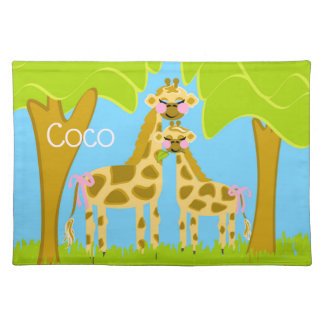 Coco the Giraffe Cotton Placemat