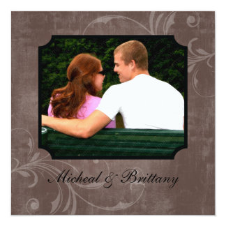 "Cocoa Accent Wedding Engagement Announcement 5.25"" Square Invitation Card"