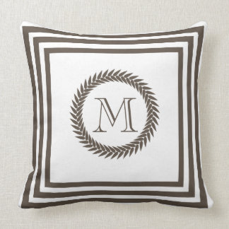 Cocoa and White Resort Spa Style Monogram Throw Cushion