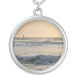 Cocoa Beach Paddleboarding Silver Plated Necklace