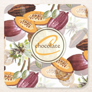 Cocoa Beans, Chocolate Flowers, Nature's Gifts Square Paper Coaster