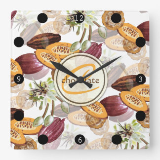 Cocoa Beans, Chocolate Flowers, Nature's Gifts Square Wall Clock